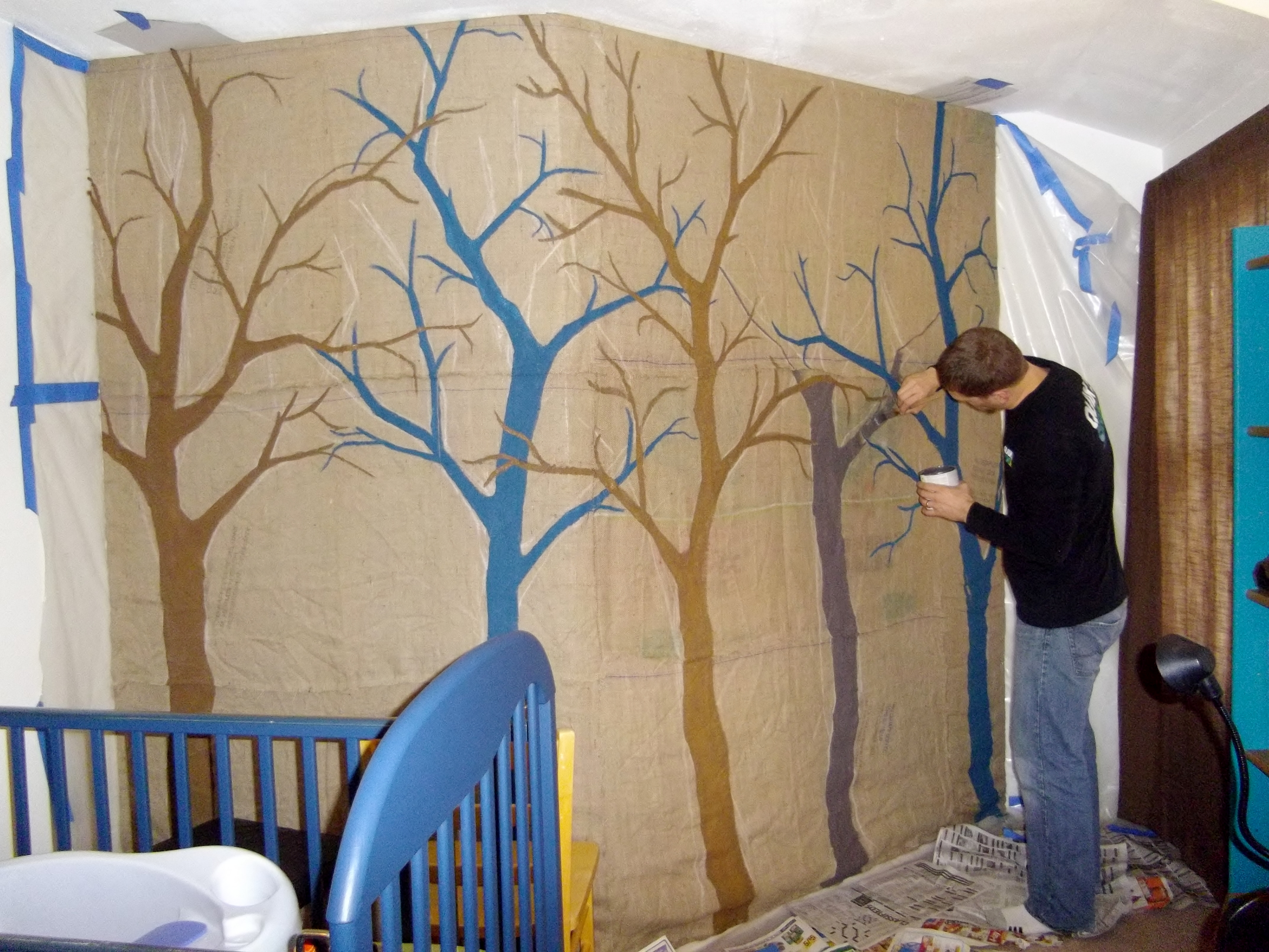 Feature Wall Trees On Burlap Lax Cat Creations